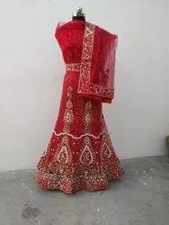 Ali Export Semi-Stitched Red Designer Lehenga Choli
