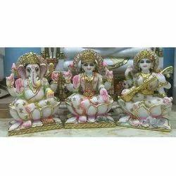 White Marble Laxmi Ganesh Saraswati Statue