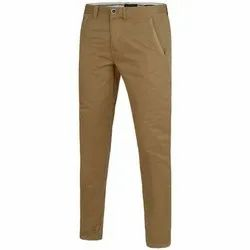 Brown Mens Cotton Casual Trouser