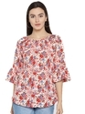 Bell Sleeve Floral Print Women Multicolor Top