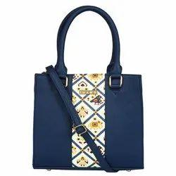 Leather LH-01-BP Ladies Blue Patola Satchel Hand Bag