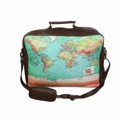 Band Box Pu World Map Suitcase Bag