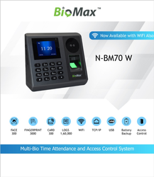 Multi-Biometric Time Attendance & Access Control System Model N-BM70-W