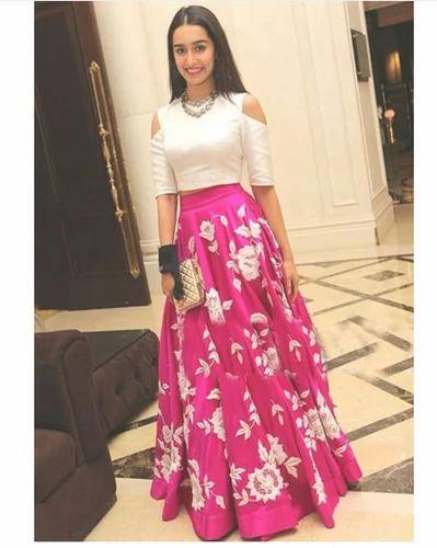 b5e42293bf5 Silk Designer Pink White Party Wear Crop Top Lehenga