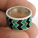 925 Sterling Silver Round Enamel Ring