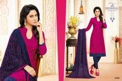 Collar Neck Pink Salwar Suit Fabric