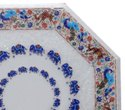 White Marble Semi Precious Stone Inlay Work Table Tops