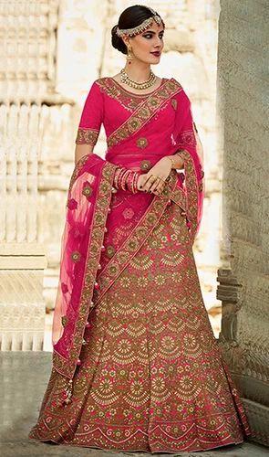 6b04616641 Pink, Red Pink Color Silk Embroidered Designer Lehenga Choli, Rs ...