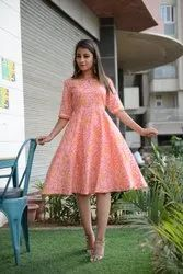 Cotton Floral Printed Flare Dress