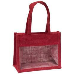 Red Jute Gift Bag with Window
