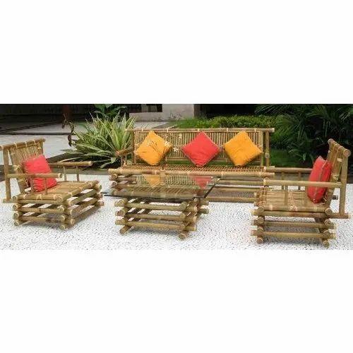 Rectangular Outdoor Bamboo Sofa Rs, Bamboo Outdoor Furniture Set