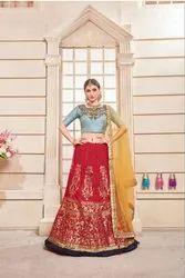 Semi-Stitched Wedding Wear Indian Ethnic Designer Phantoom Silk Party Wear Lehenga