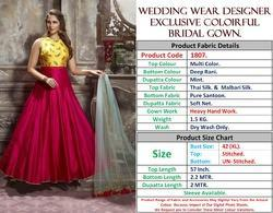 Net And Satin Exclusive Colorful Designer Wedding Wear Gown