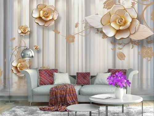 3d Golden Flower Wallpaper For Bedroom