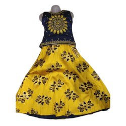 Party Wear Embroidered Kids Girl Silk Cotton Lehenga