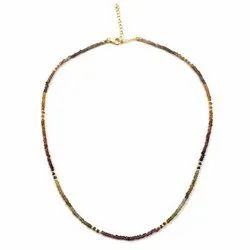 Natural Tundru Garnet Faceted Gemstone Beads Necklace with Silver Clasp