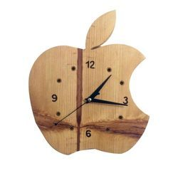 Wooden Wall Clock, Shape: Apple