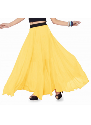 a641171586 Ishin Georgette Solid Yellow Full Length Skirt at Rs 999 /piece ...