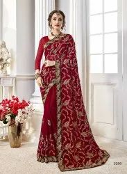 Classic Georgette Embroidered Party Wear Saree
