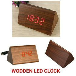 Triangular Wooden LED Clock