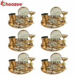 Choozee - Copper Thali Set of 6 (72 Pcs) Plate, Bowl, Spoon, Glass, Ice-Cream Cup, Knife & Fork