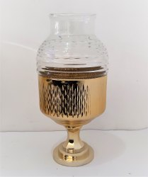 Round Handmade Footed Gold Plated Glass Hurricane