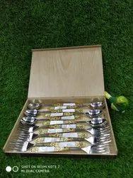 Eating Spoon Set With Original Brass N Mop Work