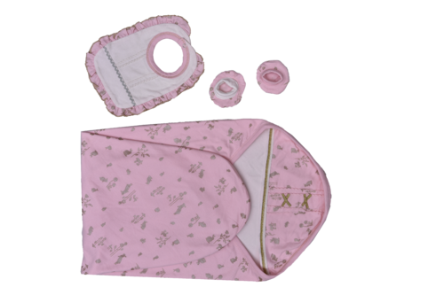 Baby Pink Cotton 3 Piece Set