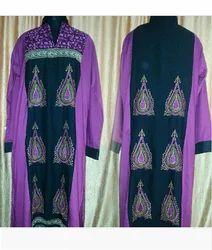 Purple V Neck Designer Karachi Kurtis