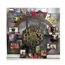 Brown Round Personalized Wooden Wall Clock, For Home, Size: 14 Inch