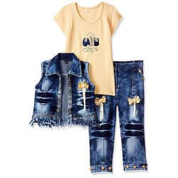 Girl Yellow and Blue Jeans Top Set, Age: 3-8 Years
