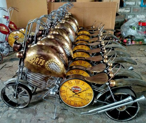 Brass Metal Wall Decor Bike with Clock