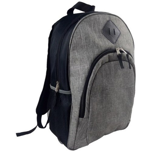 Plain Grey and Black Boys School Backpack