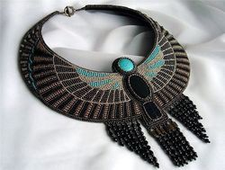Black Beaded Zari Embroidery Necklace