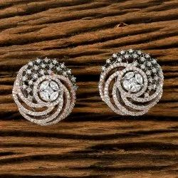 Cz Black Rose Plated Stud Earring 405534