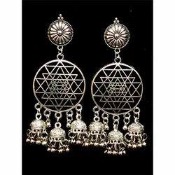 Oxidized Round Shape Ghungroo Earrings