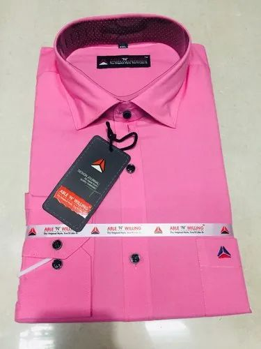 e49e79c4 Able N Willing Long Sleeve Mens Pink Plain Shirt, Packaging Type: Packet