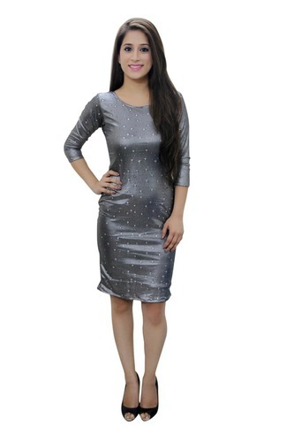 Round Neck Plain Lycra Tube Dress