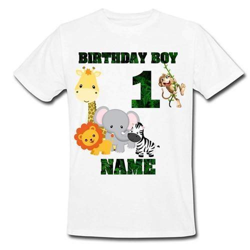 Polyester Boys Sprinklecart Jungle Themed Birthday T Shirt