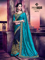 Indian Women Drak Cyan And Violet Silk and Georgette Saree