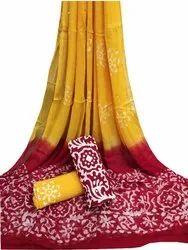 Mom Wax Batik Cotton Chiffon Dupatta Suit Set