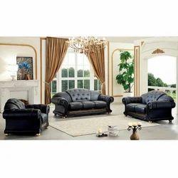 Black Leather Modular Sofa