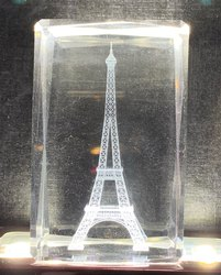 Crystal Eiffel Tower Cube