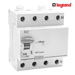 Legrand RX3 100mA 63 A Four Pole RCCB