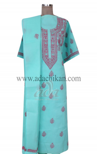 Green Cotton Lucknow Chikan Unstitched Suit