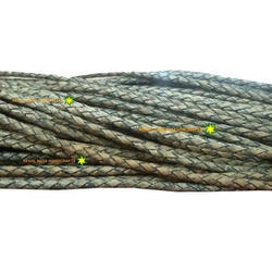 Antique Grey Black Braided Leather Cord