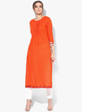 Beautiful Orange Cotton Kurti