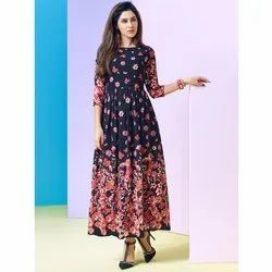 Printed Anarkali Cotton Long Kurti