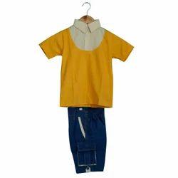 Summer Cotton Kids Plain School Uniform Set, Size: S, M And L