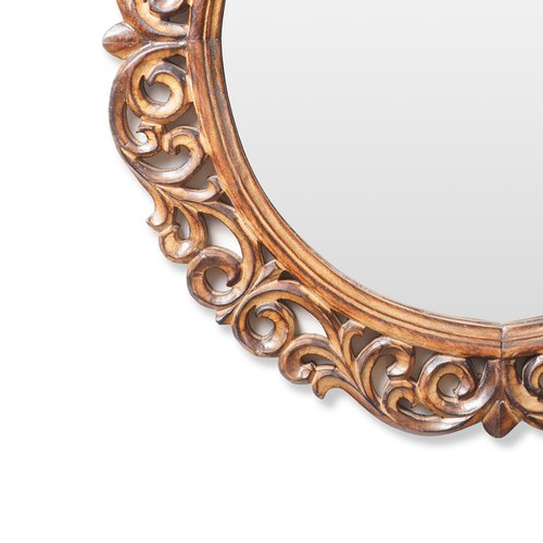 Carving Natural Wood Carved Wooden, Natural Carved Wood Round Mirror